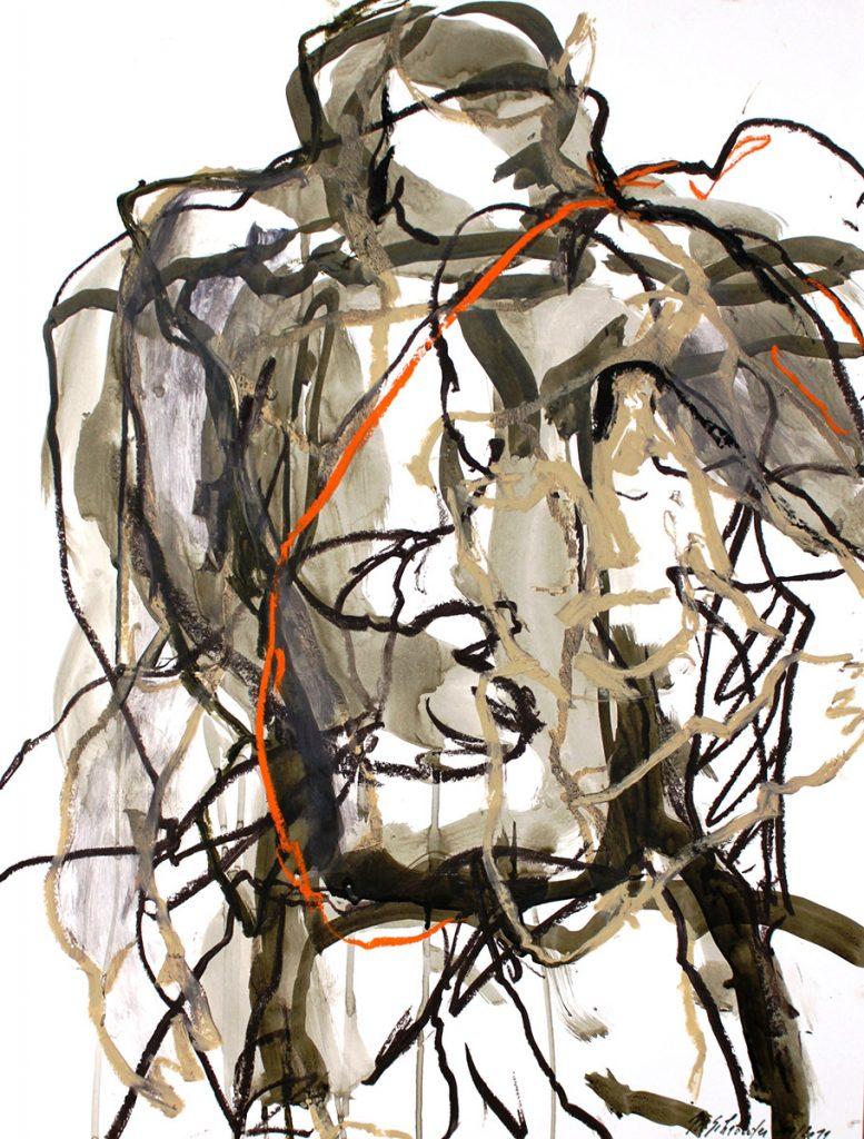 2011: Uomo 65 x 50 cm, acryl oilbar ink on paper