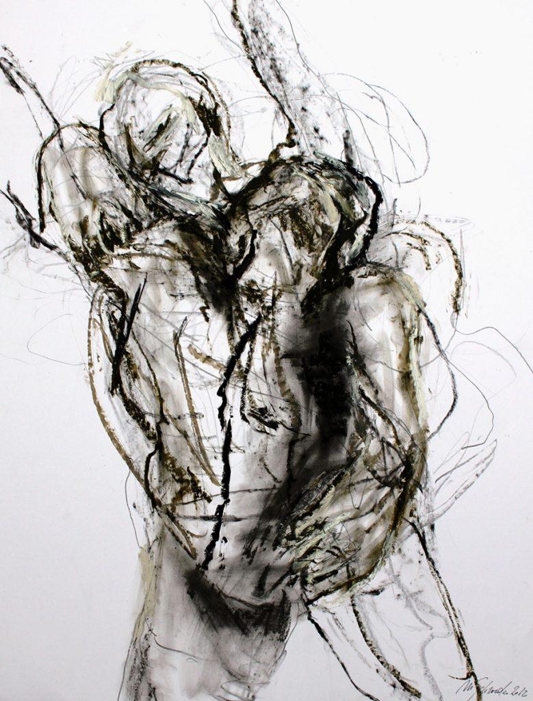 2012: Danse à la Terre, 2 Improvisation, 65 x 50 c, acryl oilbar graphite sur papier