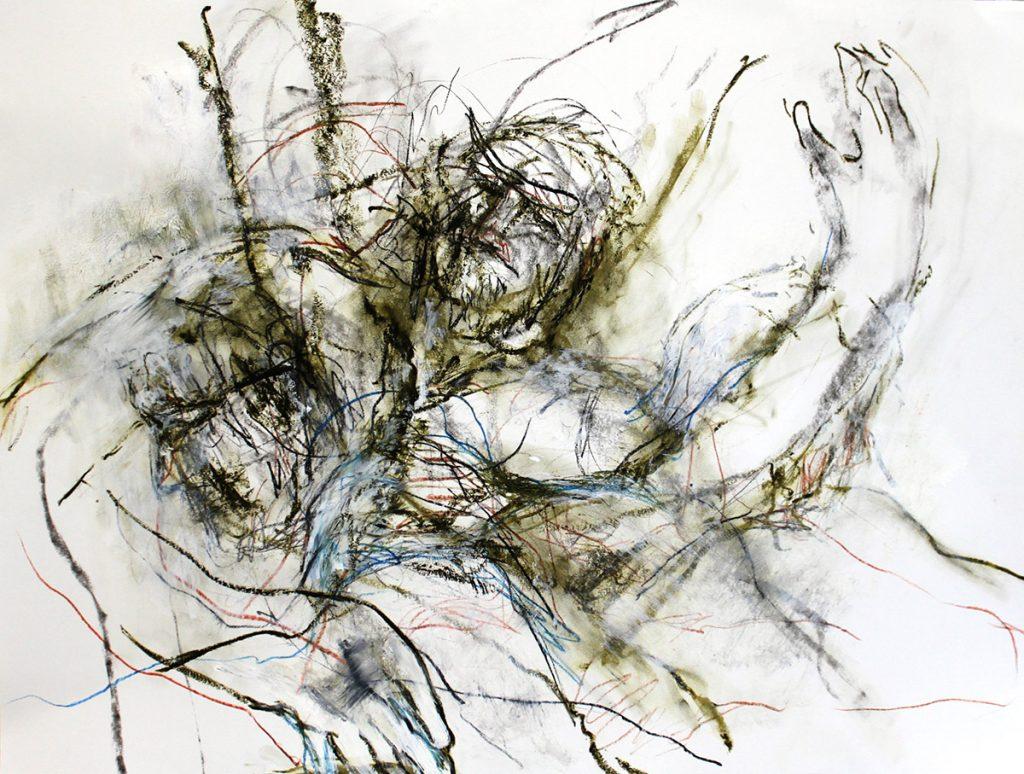 2012: Hold Me Tanz Improvisation, 50 x 65 cm, Graphite oilbar sanguine sur papier