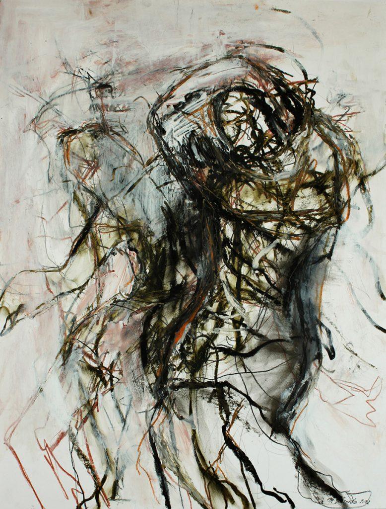 2012: Tanz Improvisation, 64 x 50 cm, Oilbar Acryl Rötel auf Papier