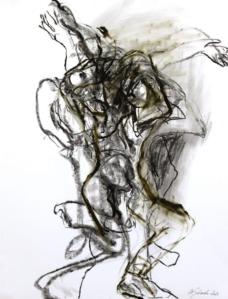 2012: Tanz Improvisation, 65 x 50 cm, Graphit Oilbar auf Papier