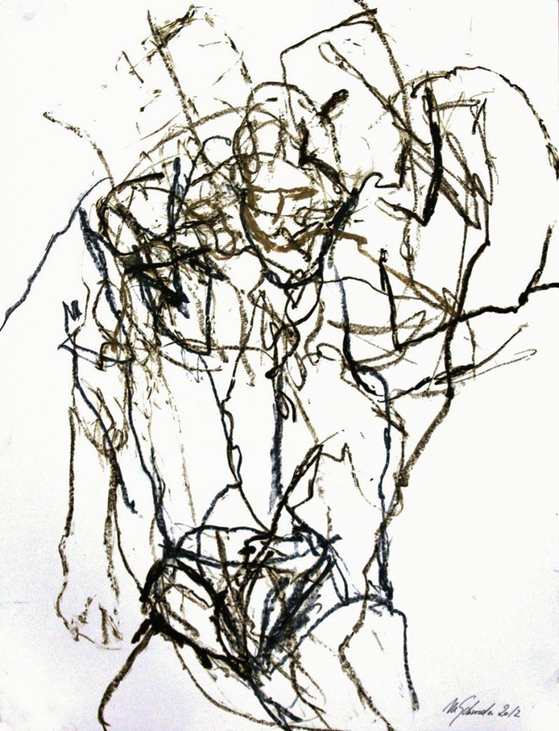2012: Tanz Improvisation, 65 x 50 cm, Oilbar Graphit auf Papier