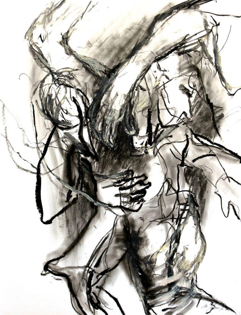 2012: Tanz Improvisation, 65 x 50 cm, Oilbar Kohle Graphit auf Papier