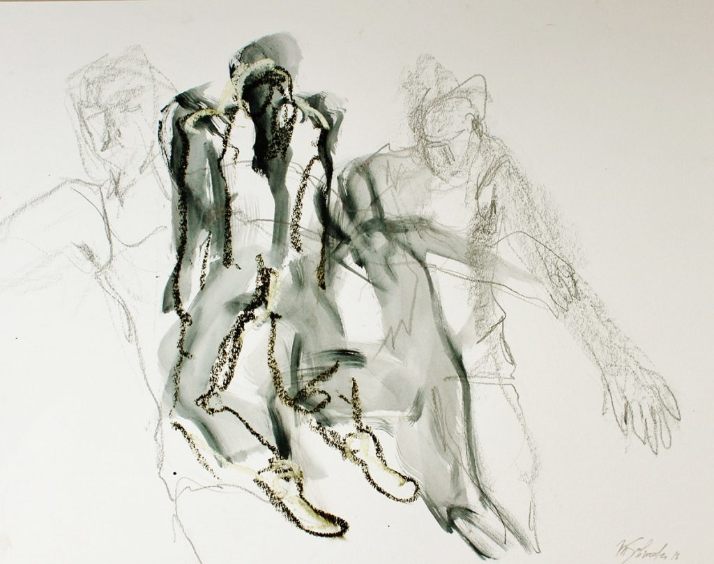 2013: Dancers, 50 x 64 cm, Ink Graphit Oilbar on paper