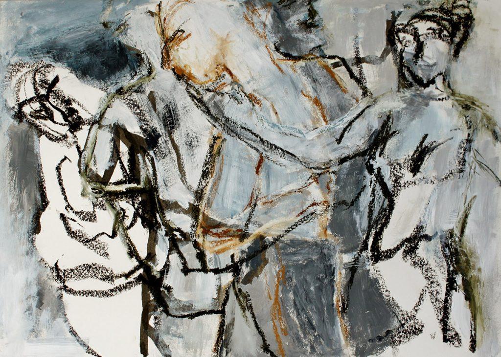 2013: Dancers Improvisation, 40 x 60 cm, Acryl Oilbar on paper