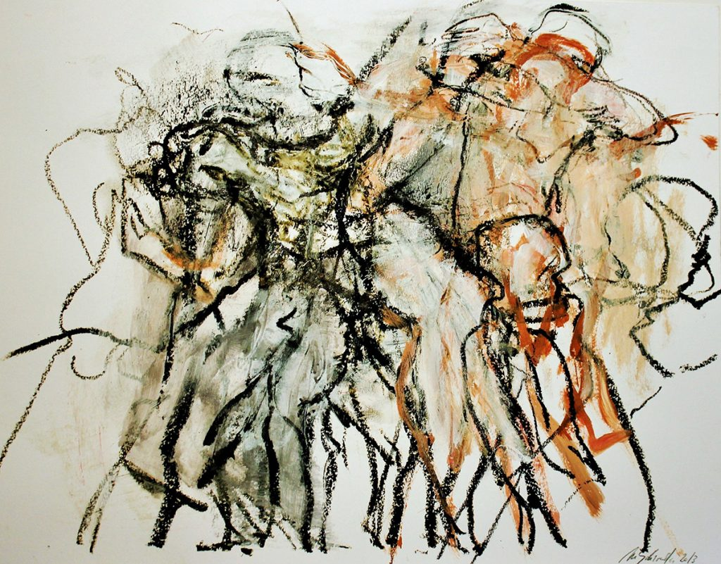 2013: Dancers Improvisation, 50 x 65 cm, Acryl Oilbar Graphite on paper