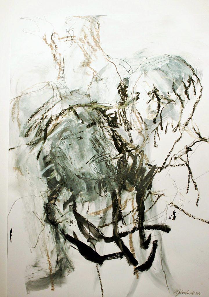 2013: Dancers Improvisation, 65 x 50 cm, Acryl Oilbar Graphite on paper