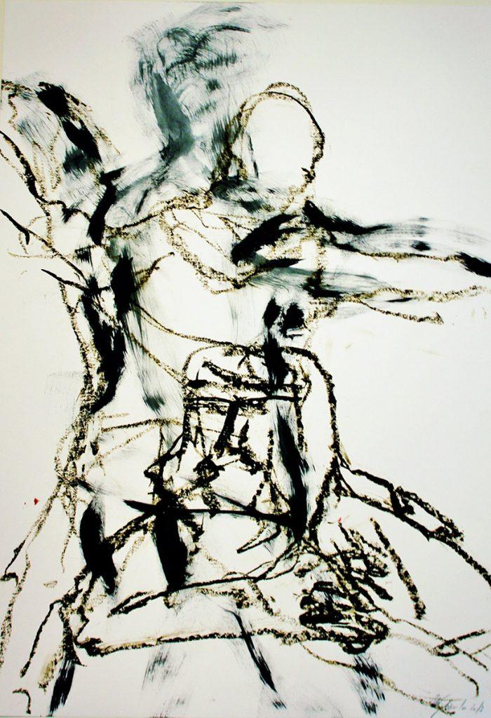 2013: Dancing Improvisation, 70 x 50 cm, Acryl Oilbar on paper