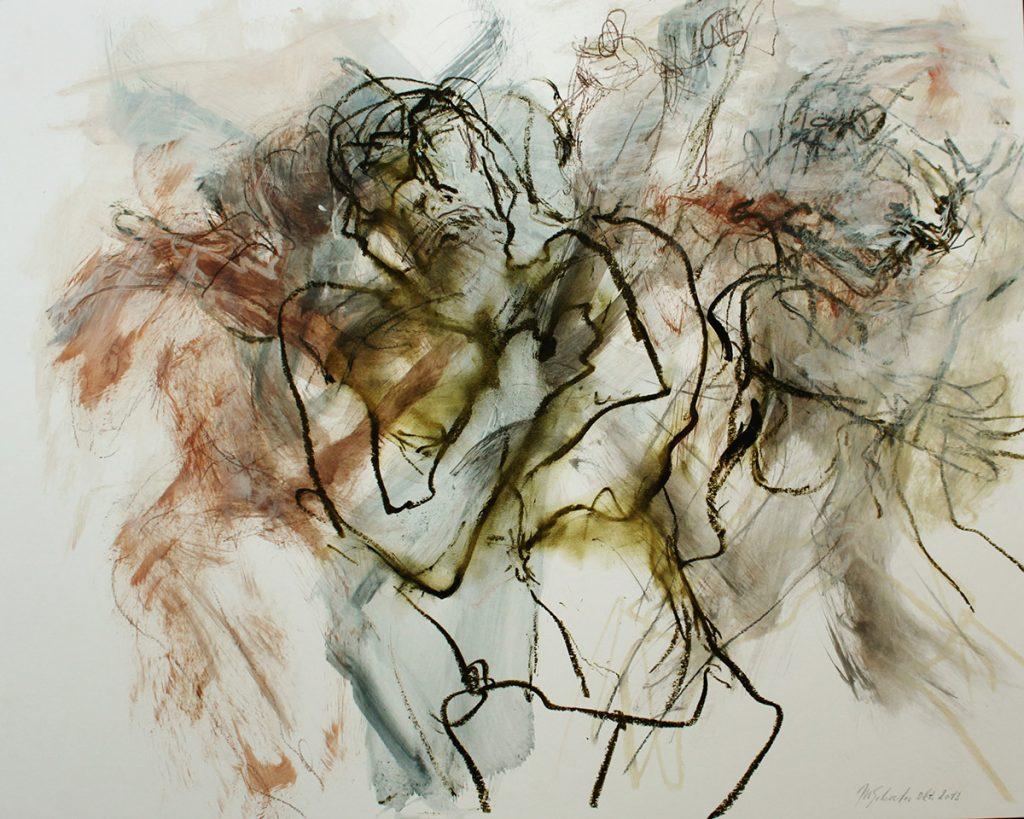 2013: Feelings, Dance Improvisation, 50 x 65 cm, Ink Acryl Oilbar Graphite on paper