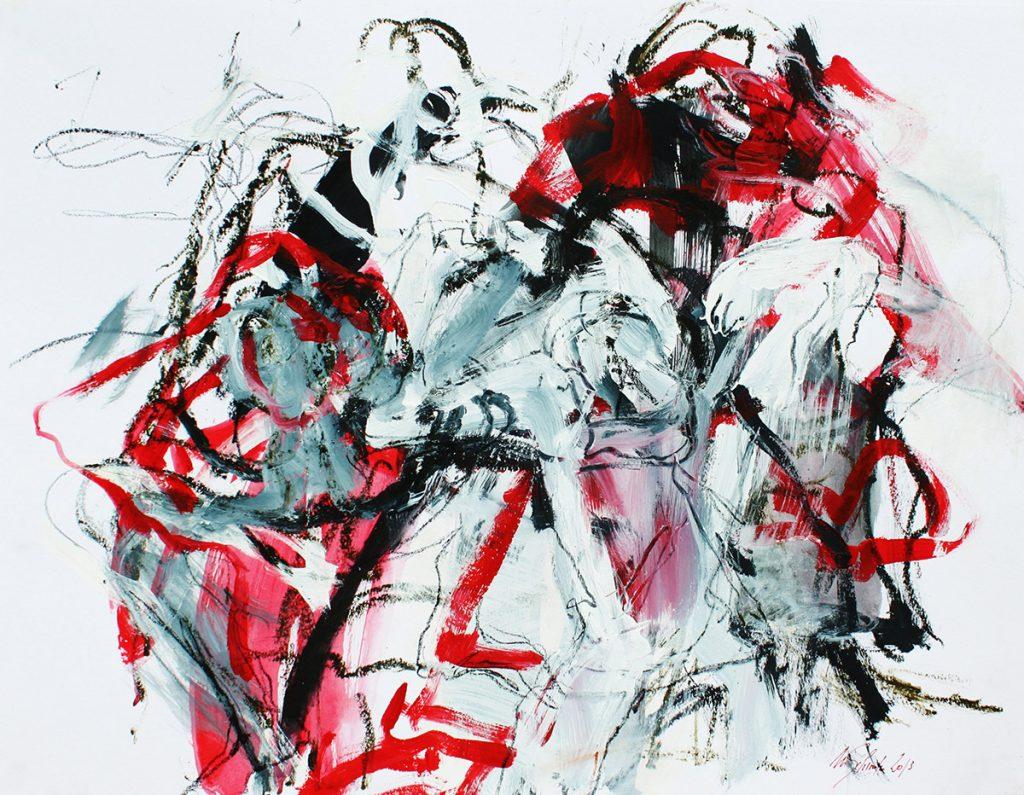 2013: Let's dance, Improvisation, 50 x 65 cm, Acryl Oilbar Graphite on paper