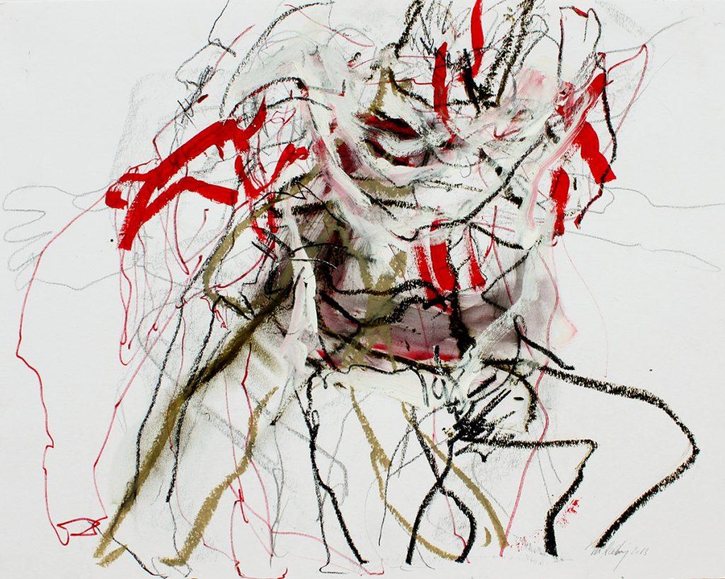 2013: Let's dance, Improvisation, 50 x 65 cm, Graphite Acryl Oilbar on paper
