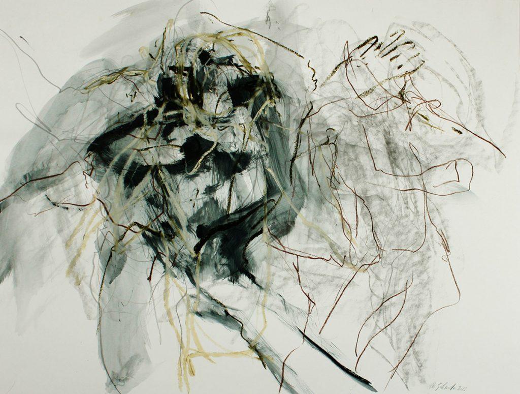 2013: Let's dance, Improvisation, 50 x 65 cm, Ink Oilbar Graphite on paper