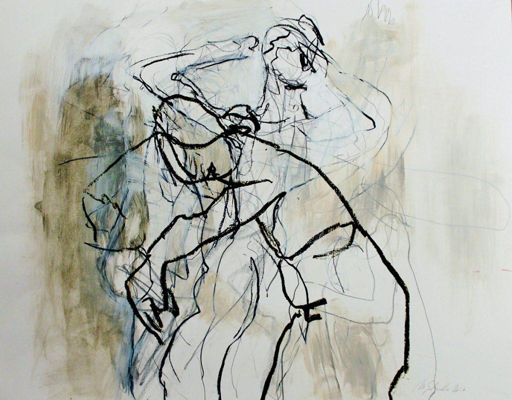 2017: Lady's Dance, Improvisation, 50 x 65 cm, Oilbar Graphite Acryl on paper