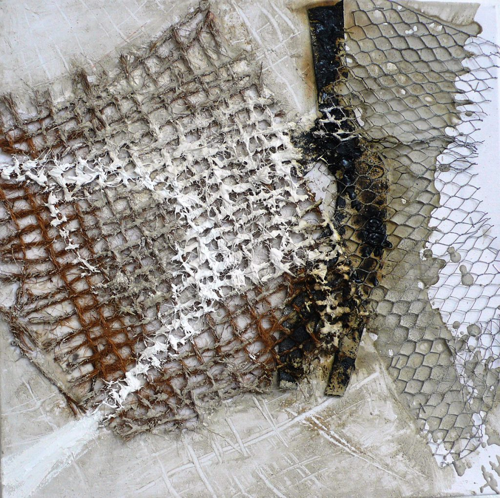 2008: Materia Rhythm, 0,50 x 0,50 m, Beton Rekup. Mat. auf Leinwand.