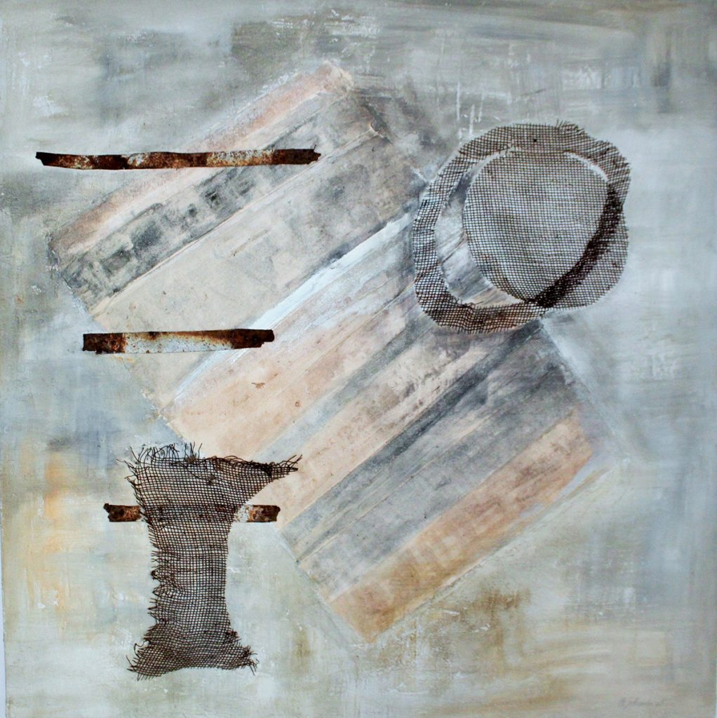 2008: Poem to Materia, 1,00 x 1,00 m, Beton Marmorpulv. Gaze, Rekup. Mat. auf Holz.