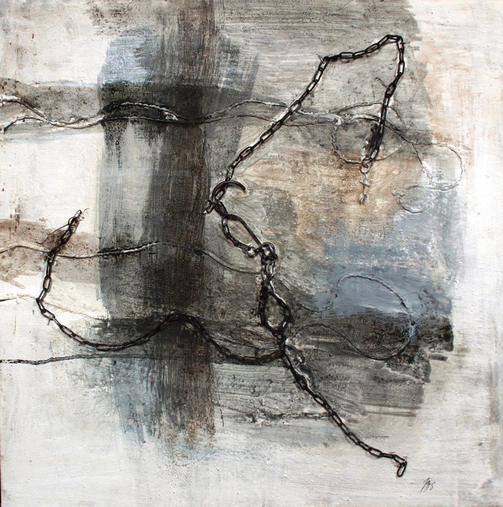 2010: Dancing Chain, 90 x 60 cm, Beton Marmorp. Ink, Rekup. Mat. auf Holz.