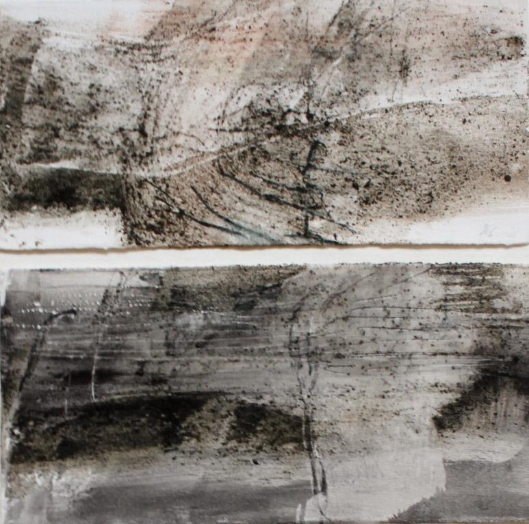 2015: Earth Dust, 1,60 x 53 cm, Basalt Asche-Wachs-Lava auf Papier.