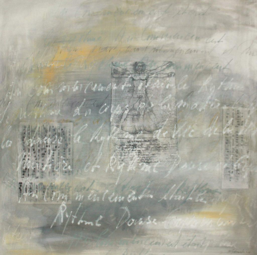 2015: Schriftspuren 1 x 1 m acryl oilbar Collage auf Leinwand