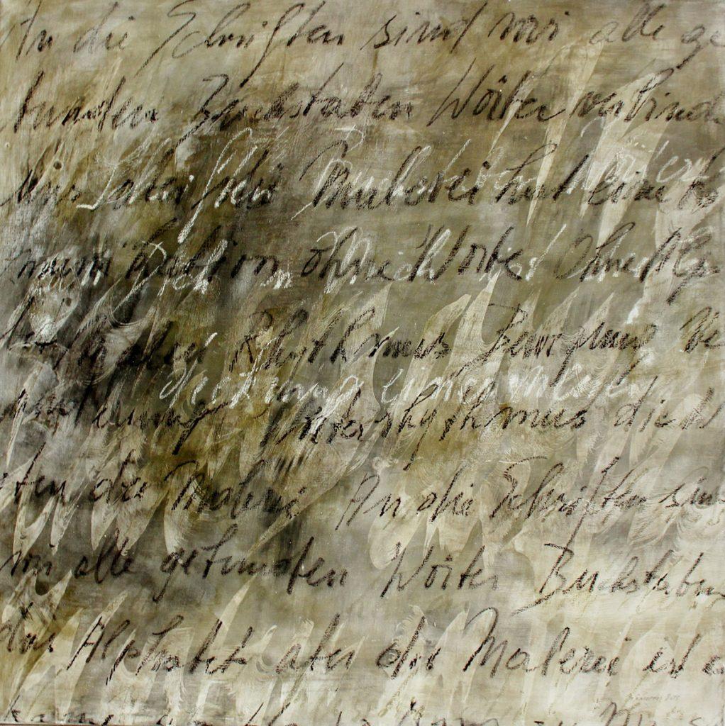 2015: Schriftspuren Rhythmen 1 x 1 m Basalt Asche Oilbar Wachs Acryl auf Leinen