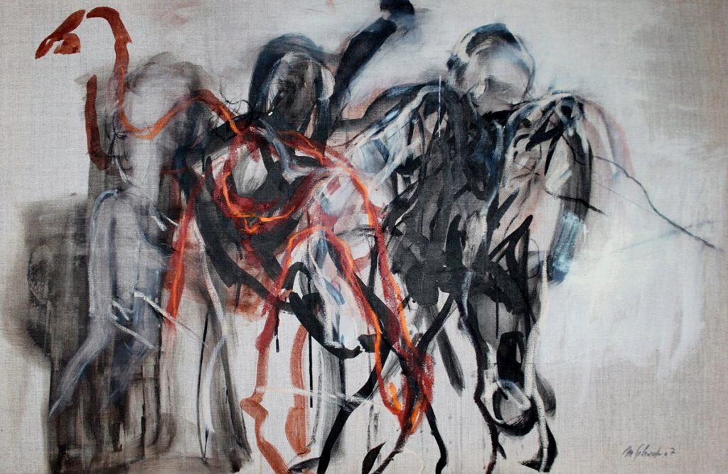 2007: Au rythme de la création, 0,80 x 1,20 m, Acryl oilbar sur toile brute