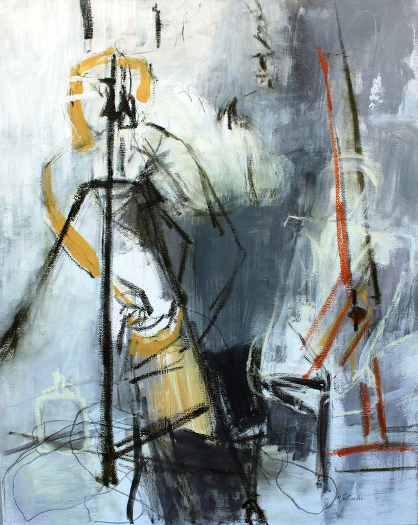 2010: A l'Atelier, 1,00 x 0,80 m, Acryl oilbar sur toile