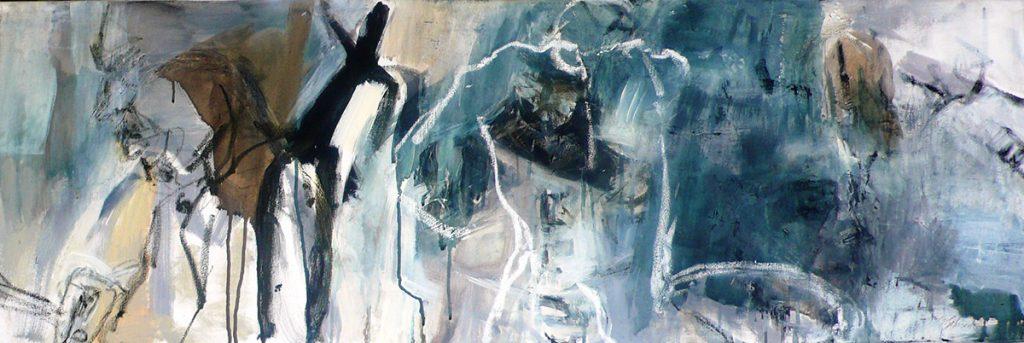 Akt Freie Komposition Kunstspektrum, 40 x 120 cm, Acryl oilbar auf Leinwand