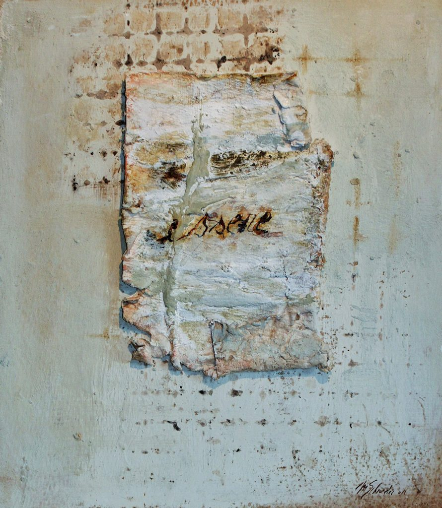 Essere, Ink marble powder, rust on paper, 64 x 56 cm